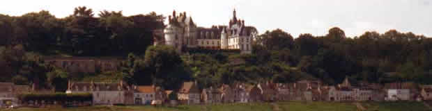 Castle overlooking a small village in the Loire vallye, France.